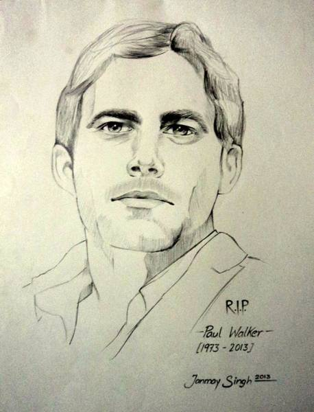 Singh Drawing - Fast And Furious - Paul Walker by Tanmay Singh