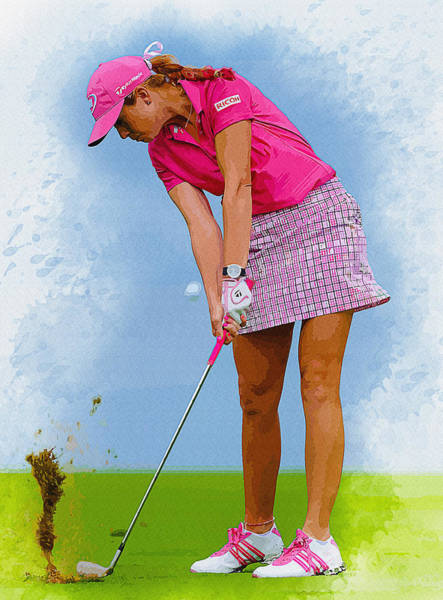 British Open Digital Art - Paula Creamer In Actionon The Evian Masters by Don Kuing