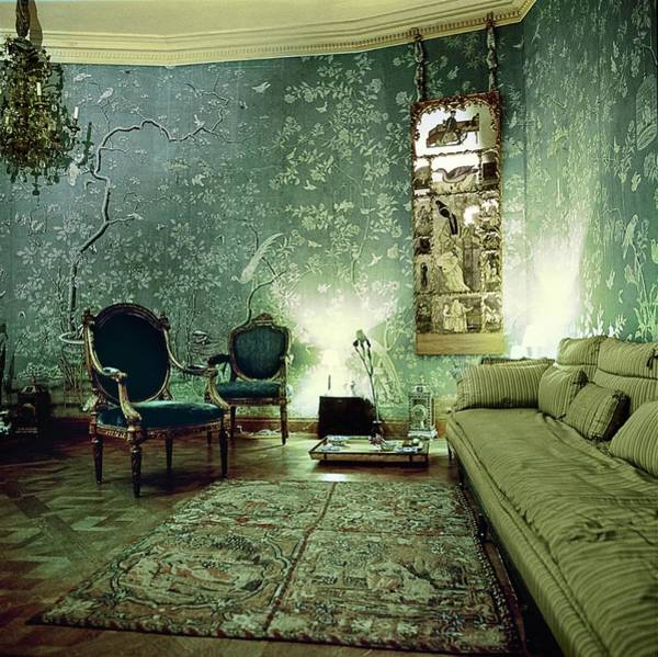 Antique Furniture Photograph - Pauline De Rothschild's Green Room by Horst P. Horst