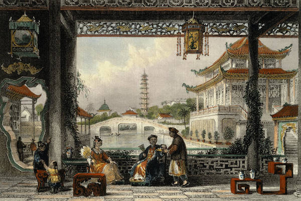 Chinese Drawing - Pavilion And Gardens Of A Mandarin by Thomas Allom