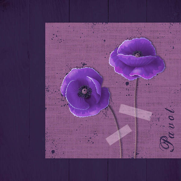 Poppies Digital Art - Pavot - S02c09b by Variance Collections