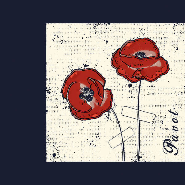 Poppies Digital Art - Pavot - S05-01a by Variance Collections
