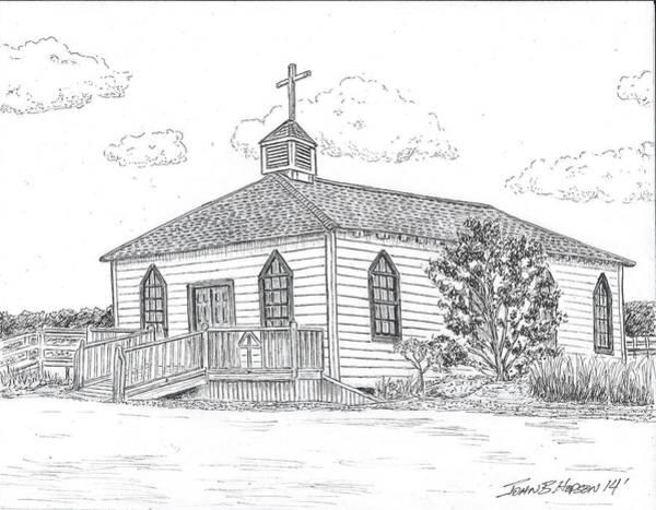 South Beach Drawing - Pawley's Island Chapel by John Hopson