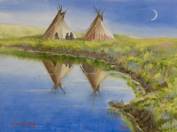 Lakota Painting - Pawnee Camp by Jerry McElroy