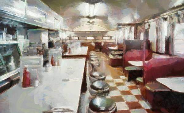 Wall Art - Painting - Pawtucket Diner Interior by Dan Sproul