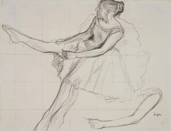 Pastel Pencil Drawing - Dancer Adjusting Her Tights by Edgar Degas
