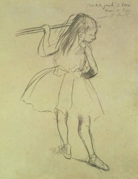 Wall Art - Drawing - Girl Dancer At The Barre by Edgar Degas