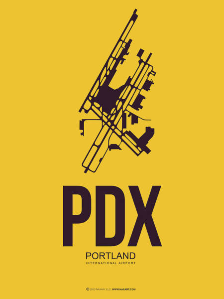Wall Art - Digital Art - Pdx Portland Airport Poster 3 by Naxart Studio