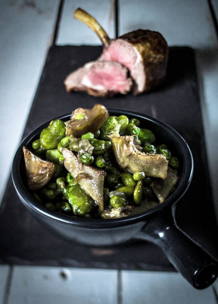 Australia Photograph - Pea And Artichoke Stew With Lamb by Stok-yard Studio