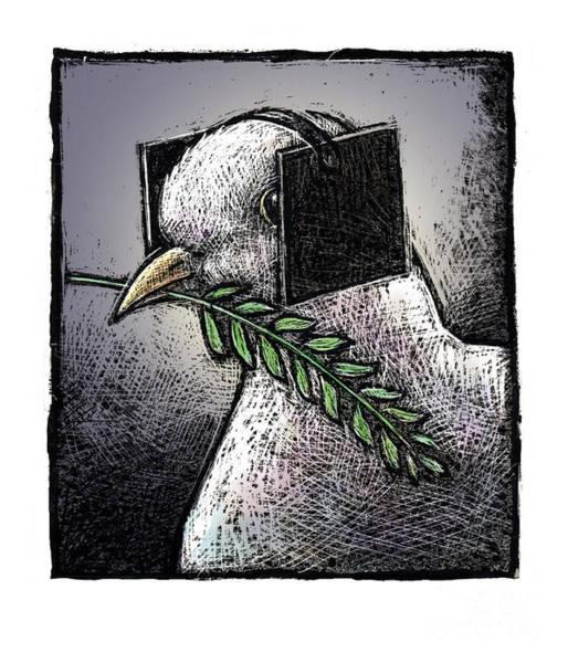 Olive Branch Drawing - Peace-3 by Chris Van Es