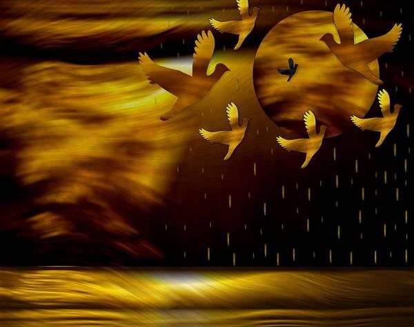 Desert Landscape Mixed Media - Peace Doves In The Desert by Pepita Selles