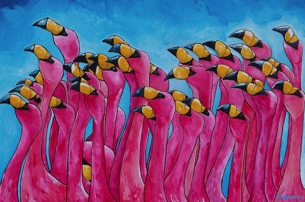Painting - Peace Love And Flamingos by Patti Schermerhorn