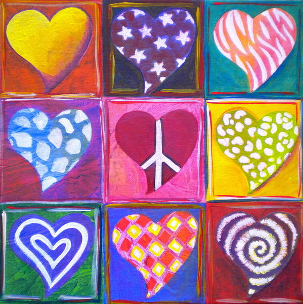 Wall Art - Painting - Peace Love And Heart Art by Debi Starr