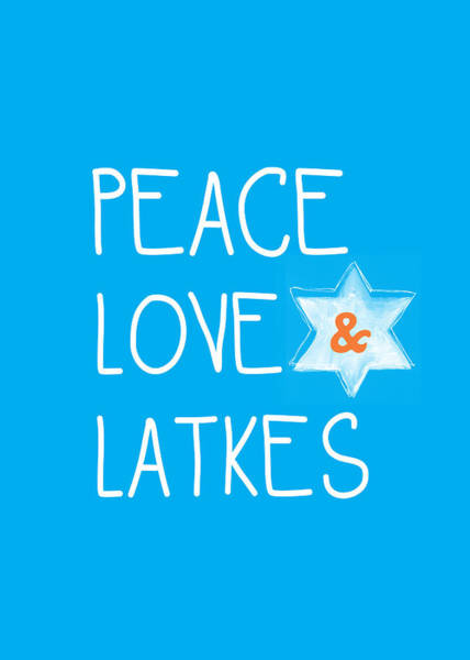 Jewish Art Wall Art - Mixed Media - Peace Love And Latkes by Linda Woods