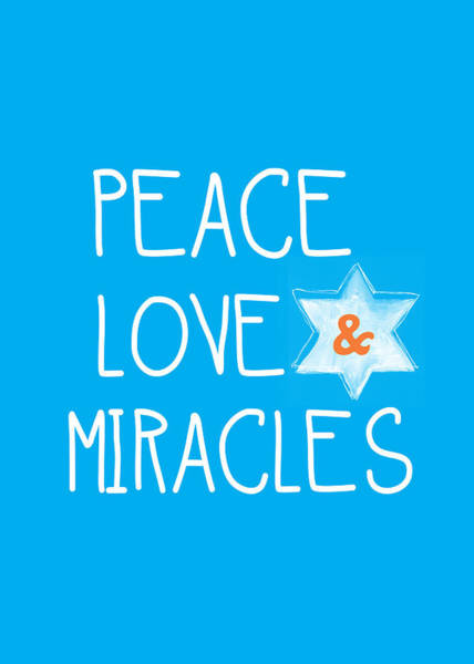 Card Painting - Peace Love And Miracles With Star Of David by Linda Woods