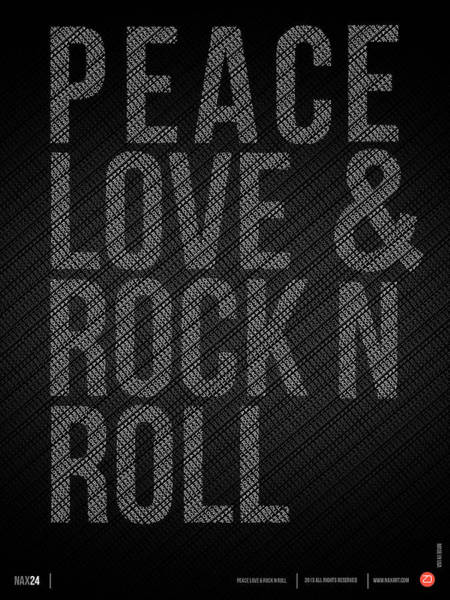 Amusing Wall Art - Digital Art - Peace Love And Rock N Roll Poster by Naxart Studio