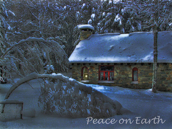 Photograph - Peace On Earth Holiday Card Moonlight On Stone House.  by Wayne King