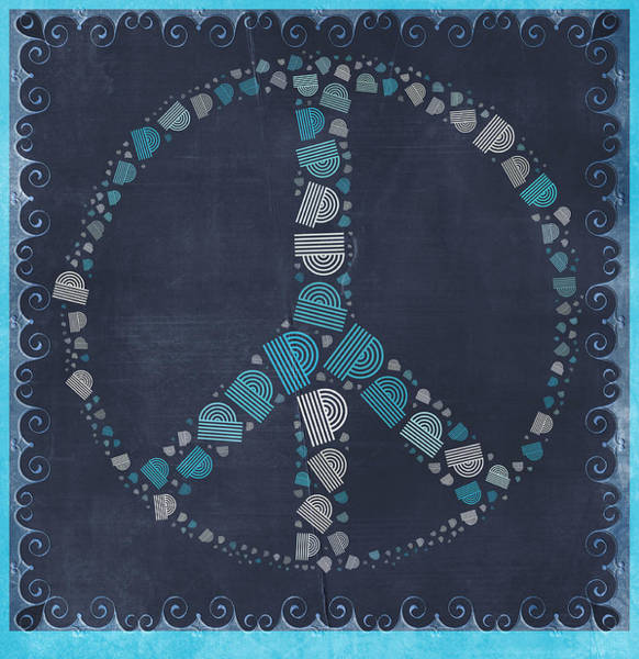Peace And Love Wall Art - Digital Art - Peace Symbol Design - Btq19at2 by Variance Collections