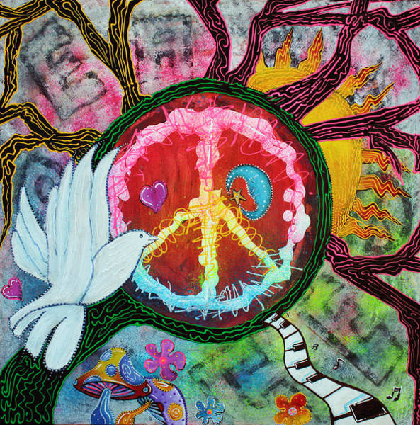 Wall Art - Painting - Peace Tree by Laura Barbosa