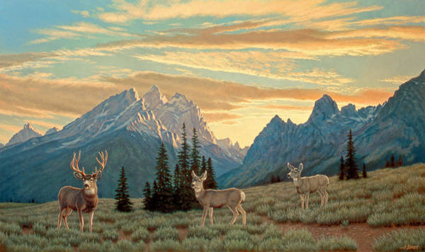 Wall Art - Painting - Peaceful Evening - Tetons by Paul Krapf