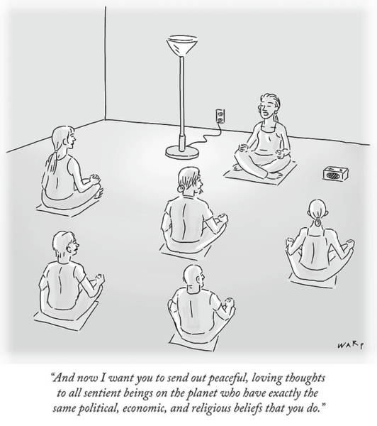 Yoga Drawing - Peaceful Loving Thoughts To All Sentient Beings by Kim Warp