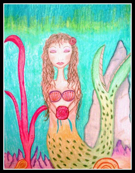 Drawing - Peaceful Mermaid by Lora Mercado
