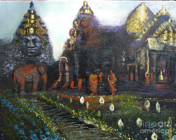 Painting - Peaceful Moment In Ankur Wat by Donna Chaasadah