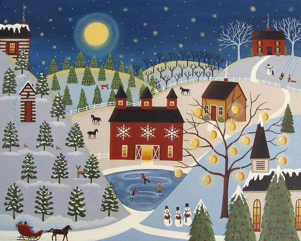 Barn Snow Painting - Peaceful Valley by Mary Charles