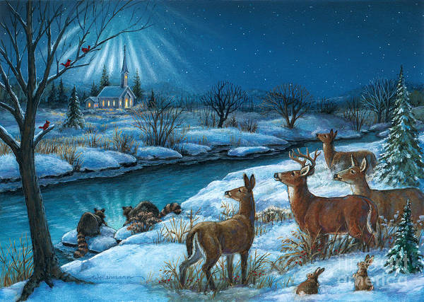 Painting - Peaceful Winters Night by Randy Wollenmann