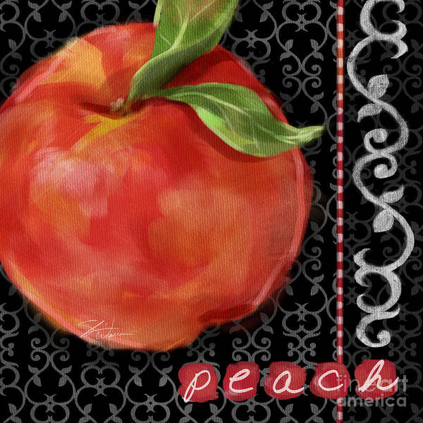 Mixed Media - Peach On Black And White by Shari Warren