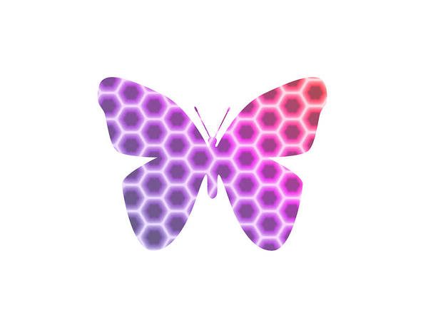 Digital Art - Peach Pink Purple Butterfly In Hexagonal Pattern II by Shelley Neff