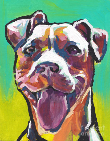 Pitbull Painting - Peach Pit by Lea S