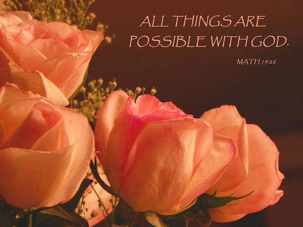 Mathew Photograph - Peach Roses With Scripture by Sandi OReilly