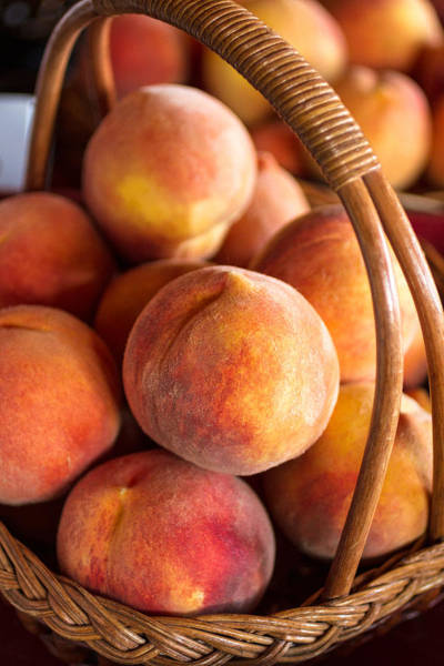 Photograph - Peaches In A Wicker Basket by Teri Virbickis