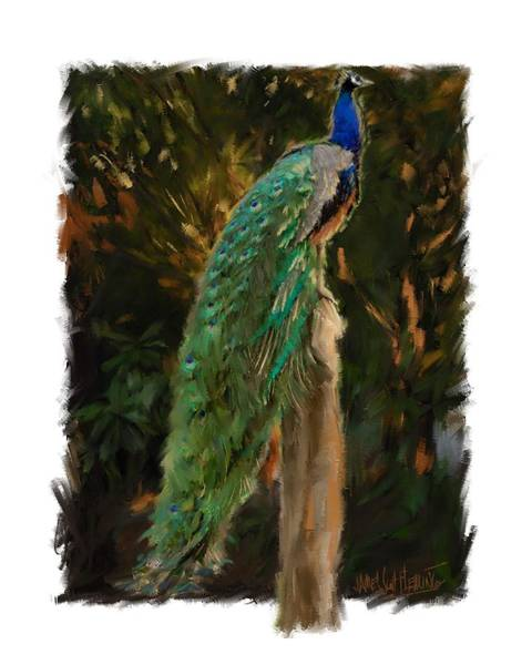 Fencepost Painting - Peacock #1 by James scott Fleming