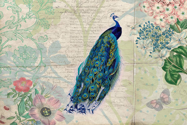 Digital Art - Peacock And Botanical Art by Peggy Collins