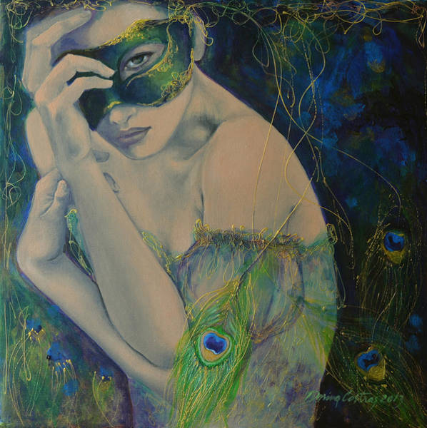 Mask Painting - Peacock Enigma by Dorina  Costras