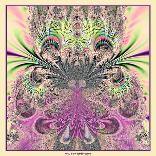 Digital Art - Peacock Feathers Bouquet Fractal 157 by Rose Santuci-Sofranko