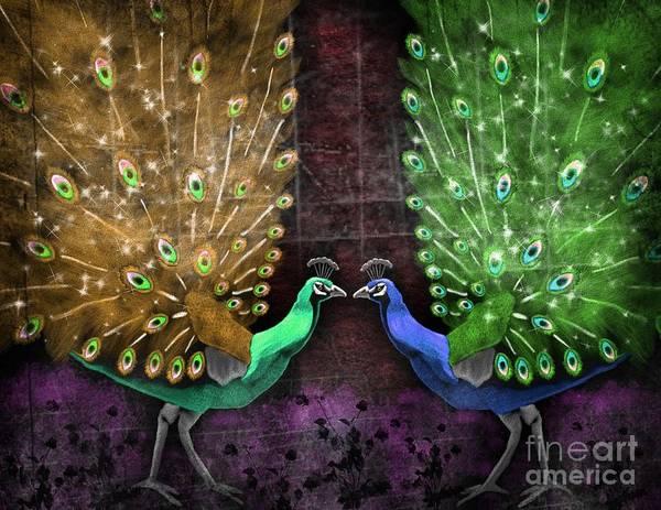Peacocks Painting - Peacock Magic by Karen Sheltrown