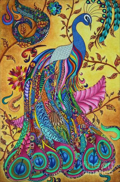 Tangle Painting - Peacock by Rebeca Rambal