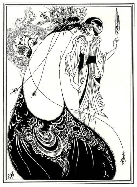 Beardsley Drawing - Peacock Skirt Oscar Wilde Illustration by Aubrey Beardsley