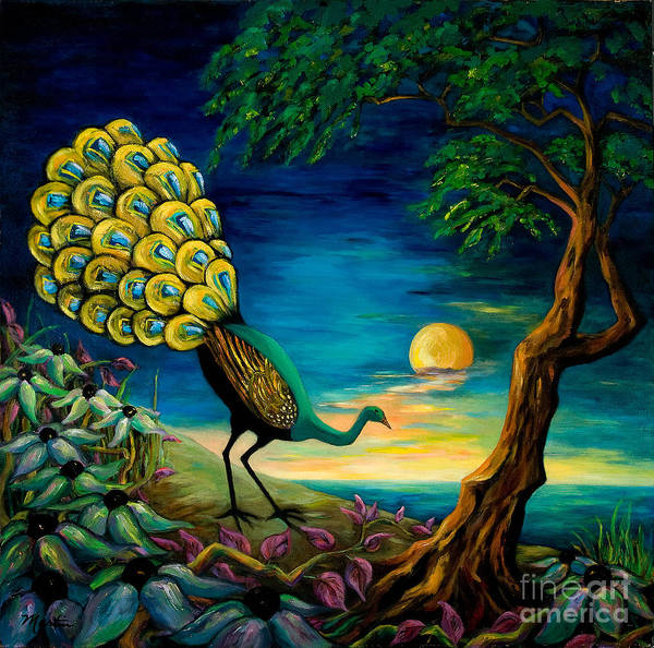 Nocturnal Wall Art - Painting - Peacock Strolls On The Beach by Larry Martin