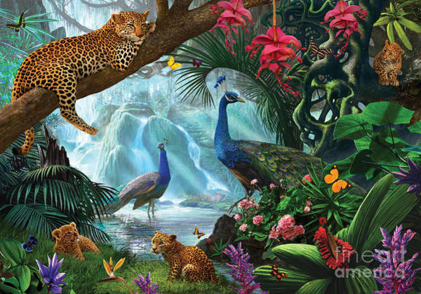 Relaxation Digital Art - Peacocks And Leopards by MGL Meiklejohn Graphics Licensing