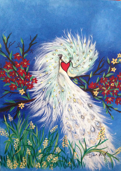 Painting - Peacocks In Love by Sima Amid Wewetzer