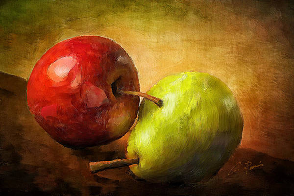 Digital Art - Pear And Apple by Charlie Roman