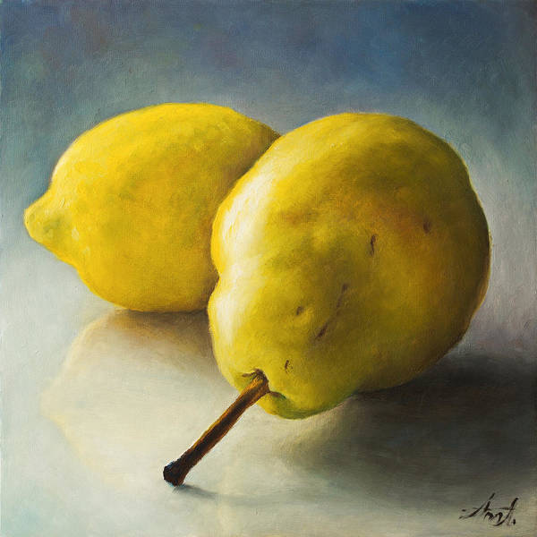 Food Groups Painting - Pear And Lemon by Anna Abramska