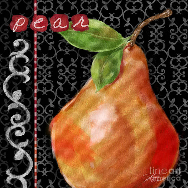 Mixed Media - Pear On Black And White by Shari Warren