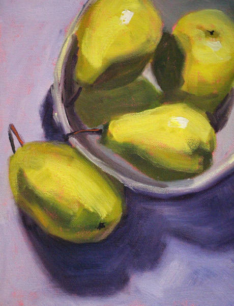 Wall Art - Painting - Pear Shadows by Nancy Merkle