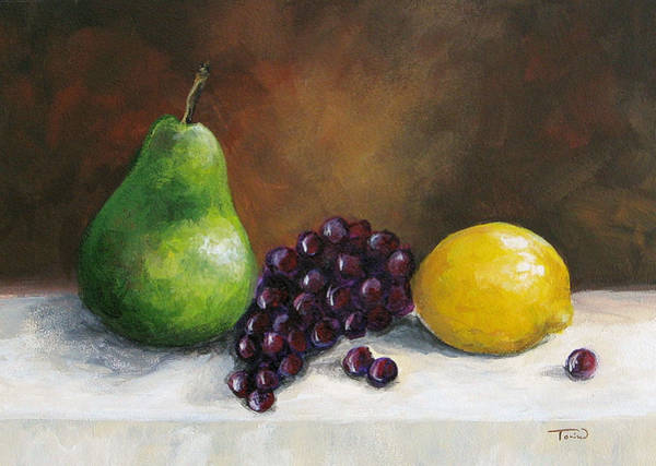 Wall Art - Painting - Pear Study With Lemon by Torrie Smiley