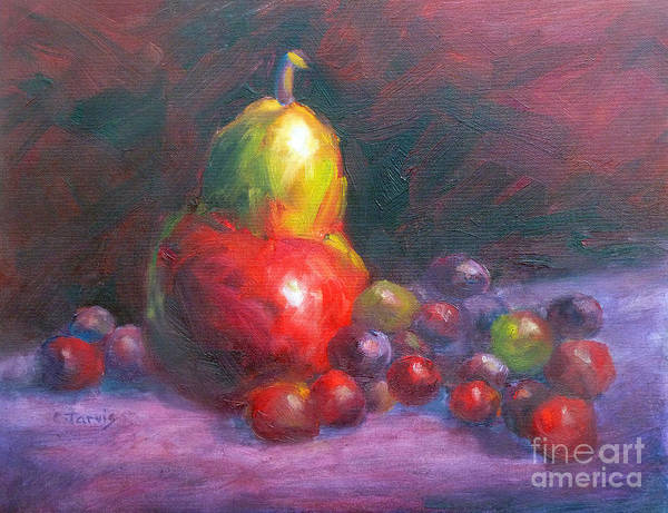 Painting - Red-purple Still Life With Pear And Grapes by Carolyn Jarvis